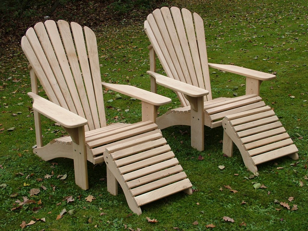 classic adirondack chair in oak hand made in the uk by