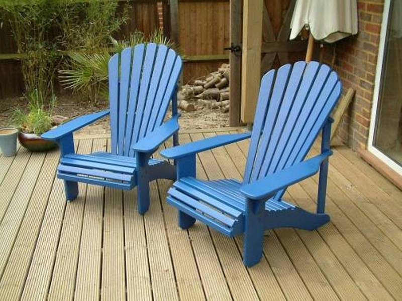 ... 2 Classic Adirondack Chairs painted Barleywood Blue ... & Gallery - adirondack.co.uk