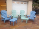 Classic Iroko Chairs painted in Seagrass and Forget Me Not.